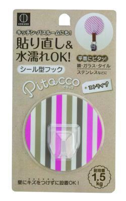 ピタッコシール型フック_KM-094_ストライプ(ピンク)