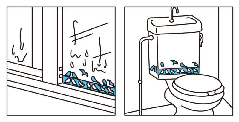 3799_結露吸水シート(シルエット)3枚入バード_KOKUBO小久保工業_使い方図