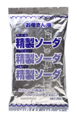 古いパッケージの精製ソーダ250g_扶桑化学(リニューアル前)
